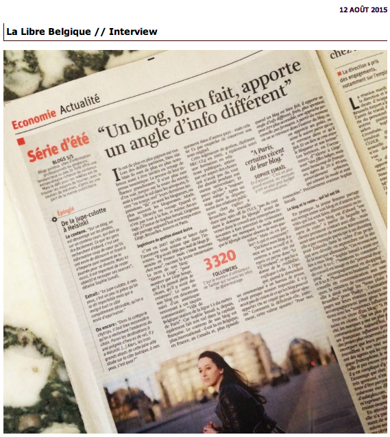 Articles dans la presse sur les blogs de mode-Belgique
