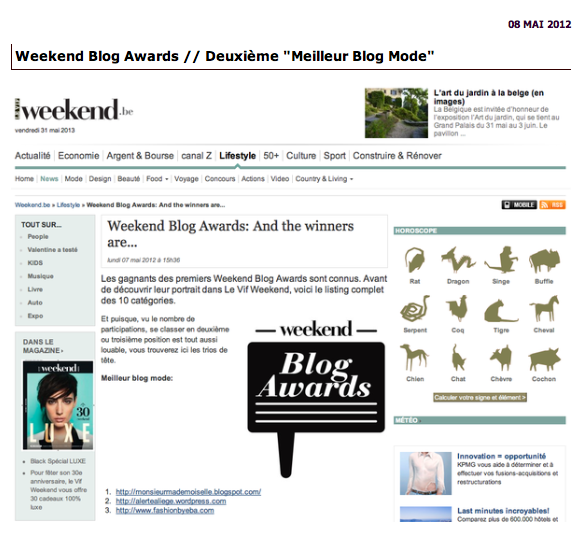 Meilleurs blogs Mode-Weekend Blog Awards