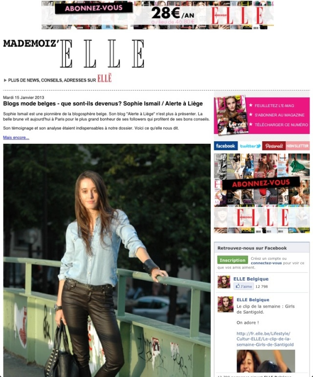 Meilleurs blogs mode ELLE-Alerte à Liège