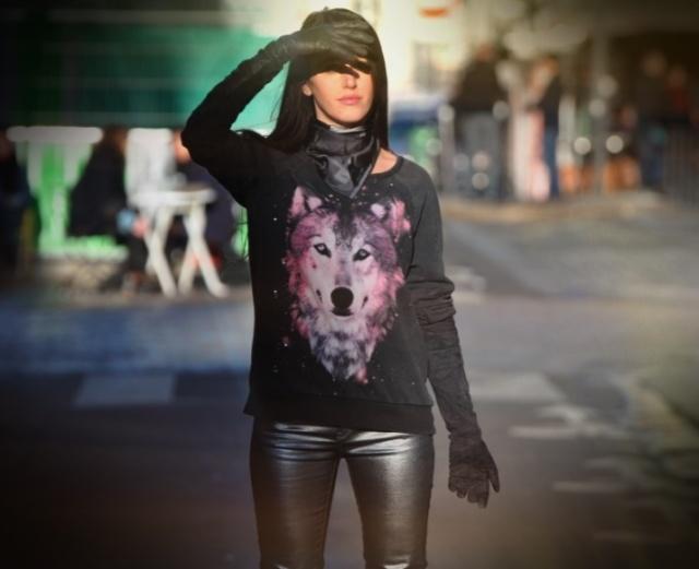Wolf Print Sweater-Silver Pants