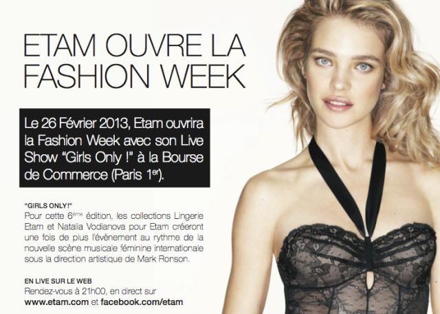Etam Lingerie Fashion Show PFW 2013-Bourse de Commerce