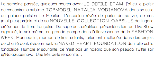 Interview  Natalia Vodianova-Etam Lingerie-1