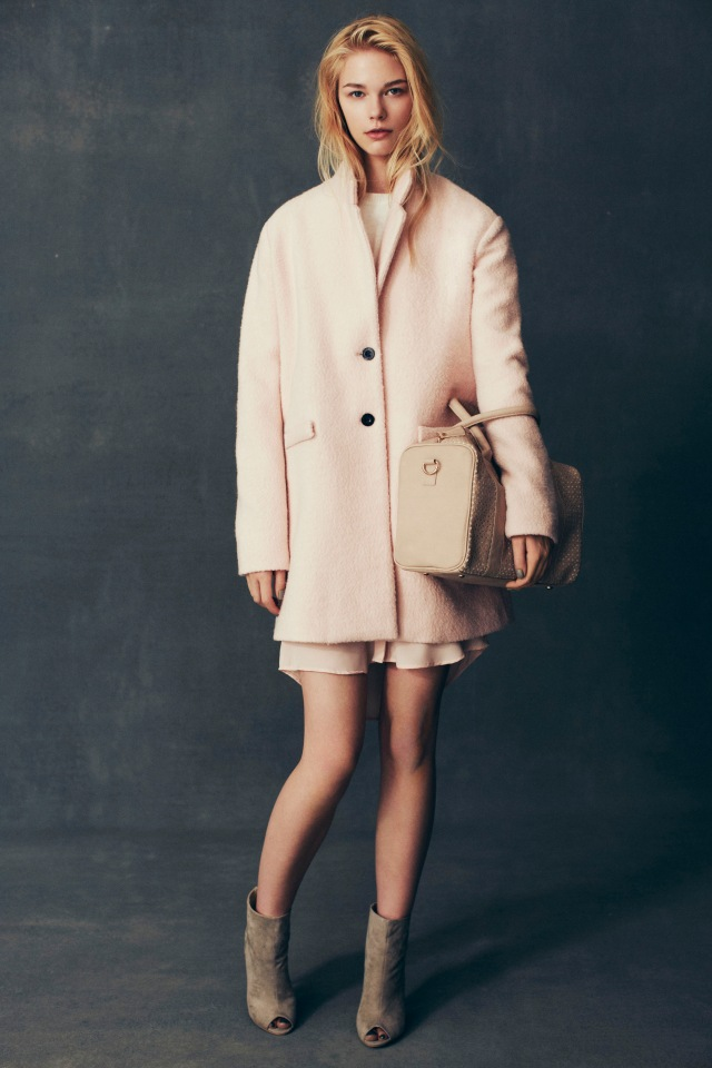 Boucle Coat €40, Jumper €16, Blouse €10, Bag €12, High Ankle Peeptoe Boot €18 In Stores from August