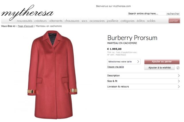Burberry Prorsum Automne 2013-Manteau en cachemire rouge avec empiècements de métal doré
