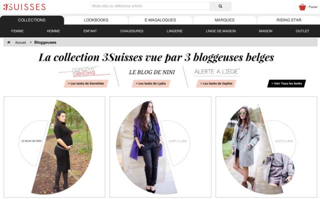 3 Suisses et blogueuses mode Belgique