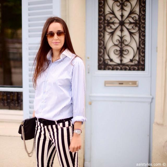 Look black and white pants-Pantalon à lignes x chemise à lignes-Blogueurs mode Belgique-1