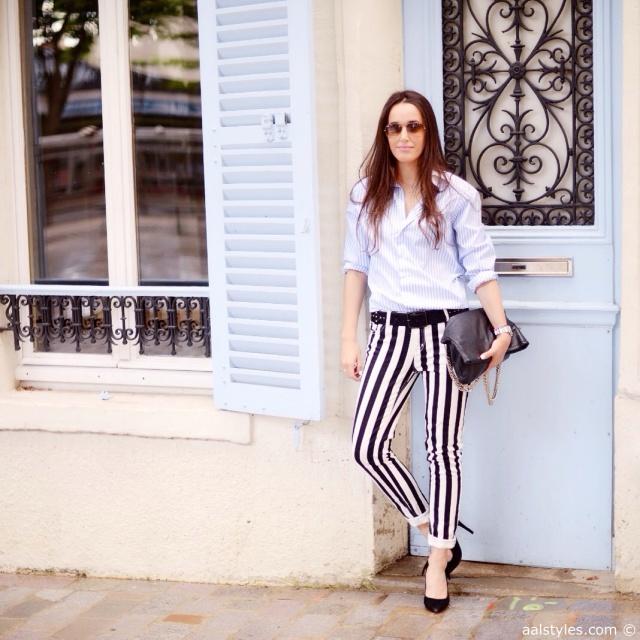 Look black and white pants-Pantalon à lignes x chemise à lignes-Blogueurs mode Belgique-2