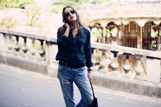 Chemise carreaux x boyfriend jeans-5